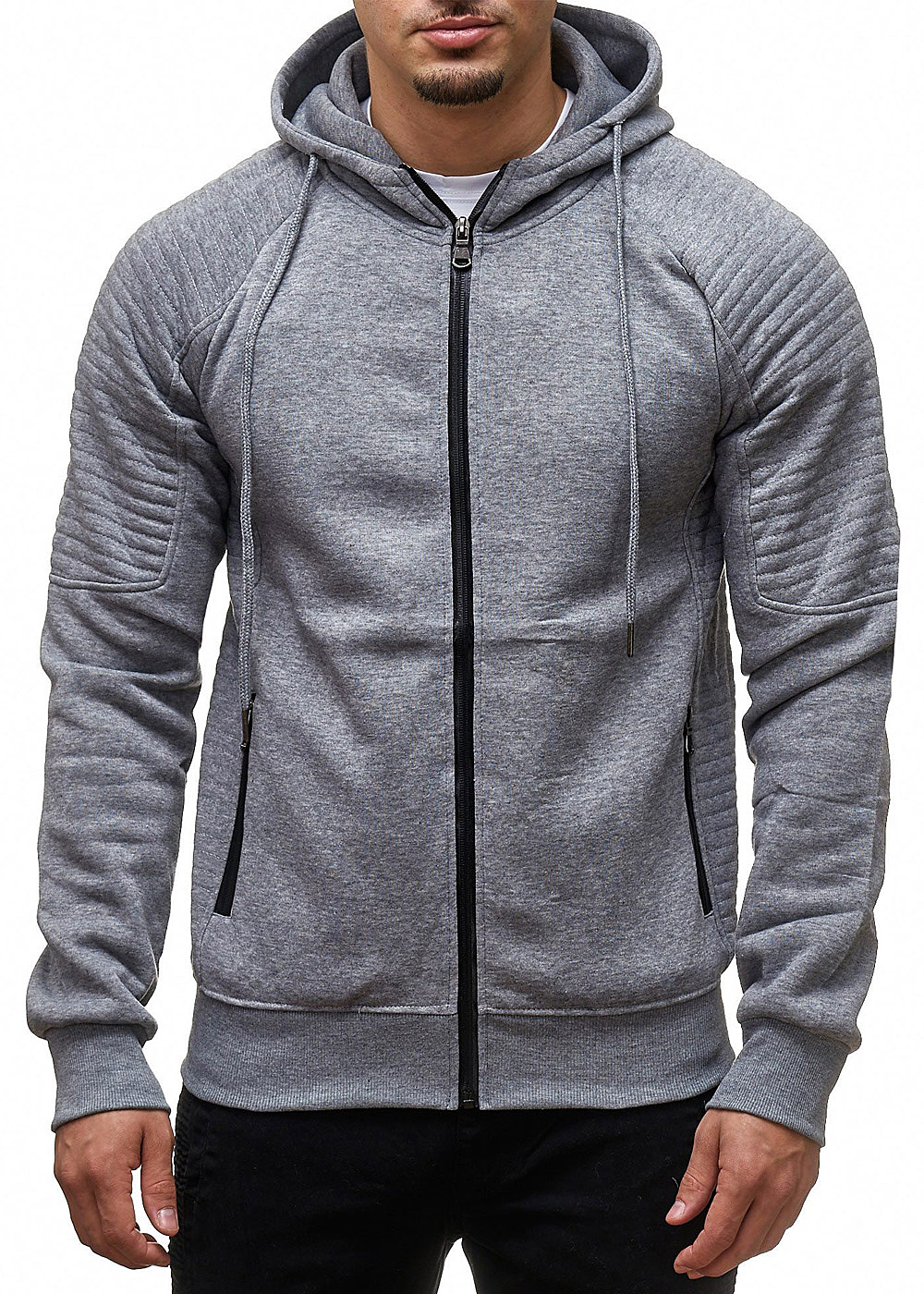 seventyseven lifestyle herren zip hoodie kapuze 2 taschen dunkel grau 77onlineshop. Black Bedroom Furniture Sets. Home Design Ideas