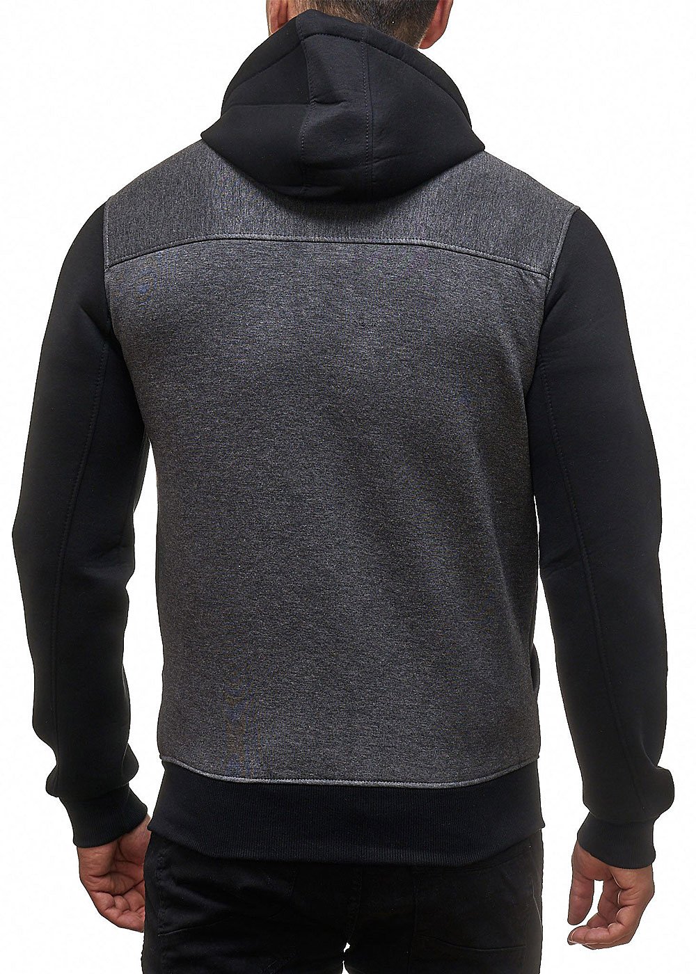 seventyseven lifestyle herren zip hoodie kapuze 2 taschen schwarz grau 77onlineshop. Black Bedroom Furniture Sets. Home Design Ideas