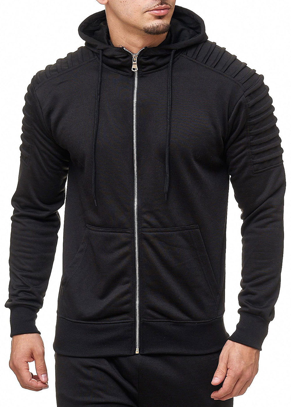 seventyseven lifestyle herren zip hoodie 2 taschen schwarz 77onlineshop. Black Bedroom Furniture Sets. Home Design Ideas