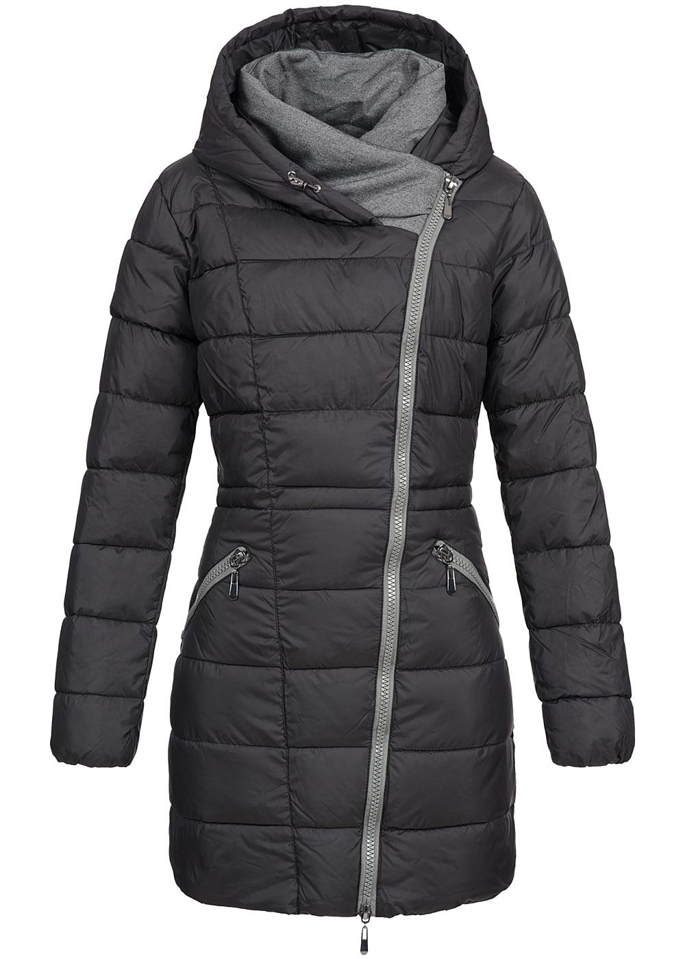seventyseven lifestyle damen winter mantel kapuze zipper seitlich 2 taschen schwarz 77onlineshop. Black Bedroom Furniture Sets. Home Design Ideas