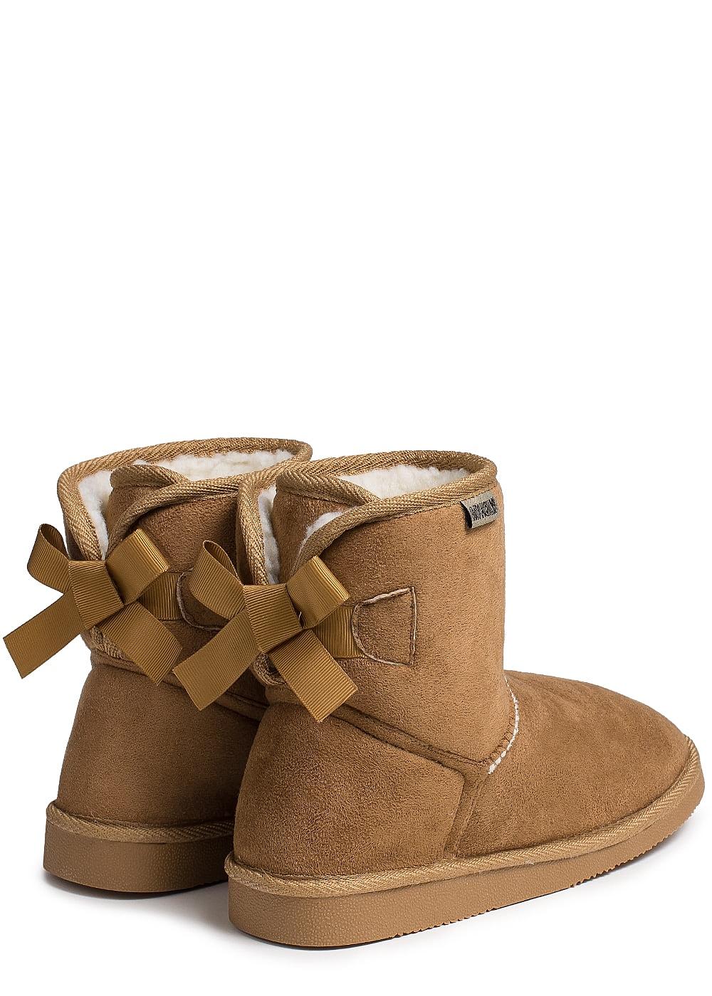 3075f7bce8ceea Hailys Damen Schuh Winter Boot Schleife hinten camel braun ...