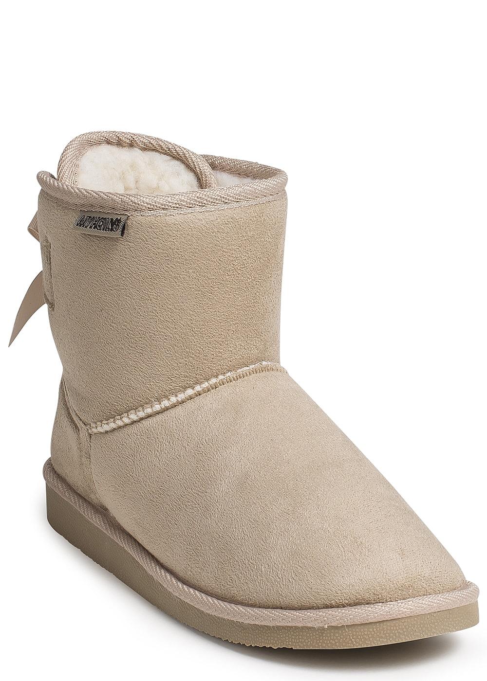 seventyseven lifestyle schuh boots schleife hinten mit teddyfutter gef ttert beige 77onlineshop. Black Bedroom Furniture Sets. Home Design Ideas