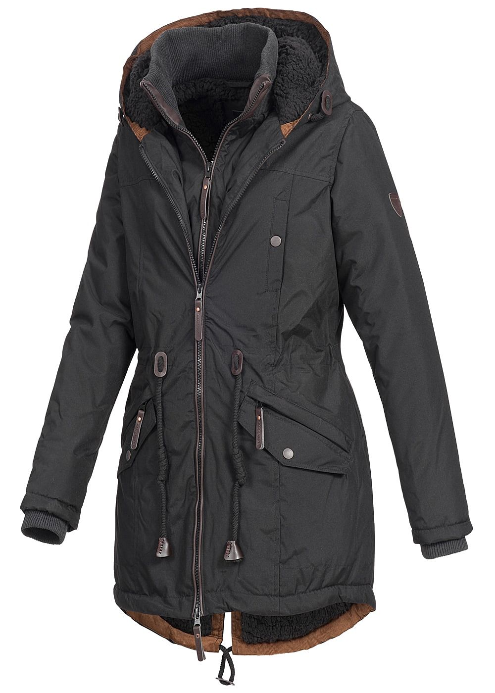 seventyseven lifestyle damen winter parka 2 rv teddyfell kapuze 5 pockets schwarz braun. Black Bedroom Furniture Sets. Home Design Ideas