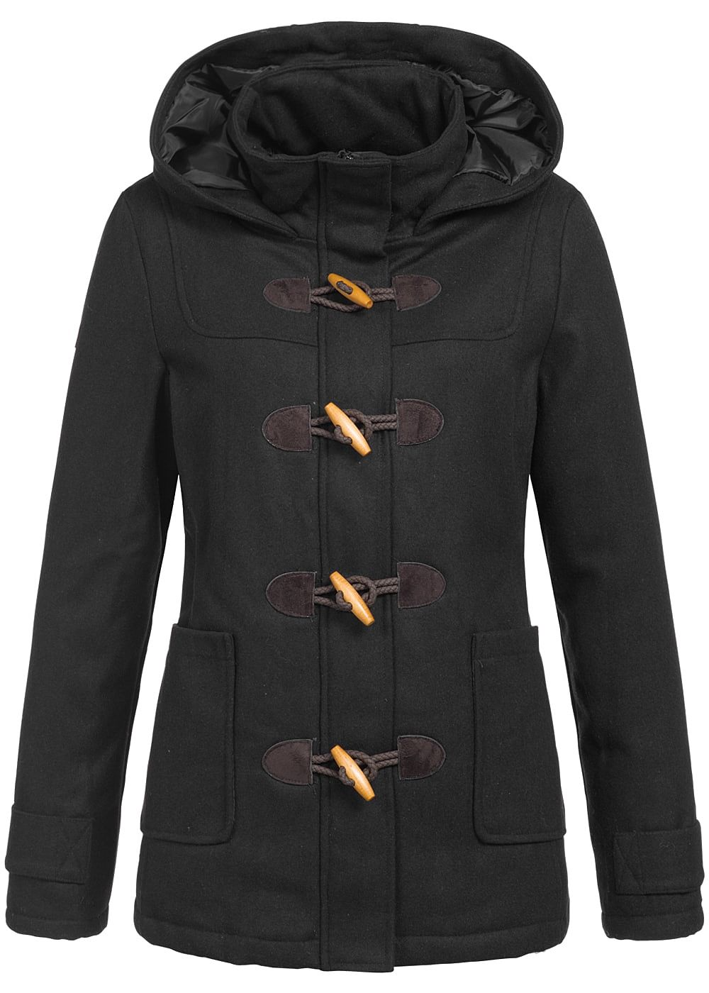 seventyseven lifestyle damen winter parka kapuze 2 taschen rv knebelverschluss schwarz. Black Bedroom Furniture Sets. Home Design Ideas
