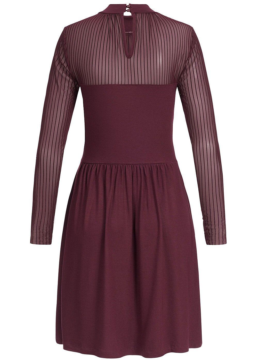ONLY Damen Langarm Kleid Passe oben port royale rot ...