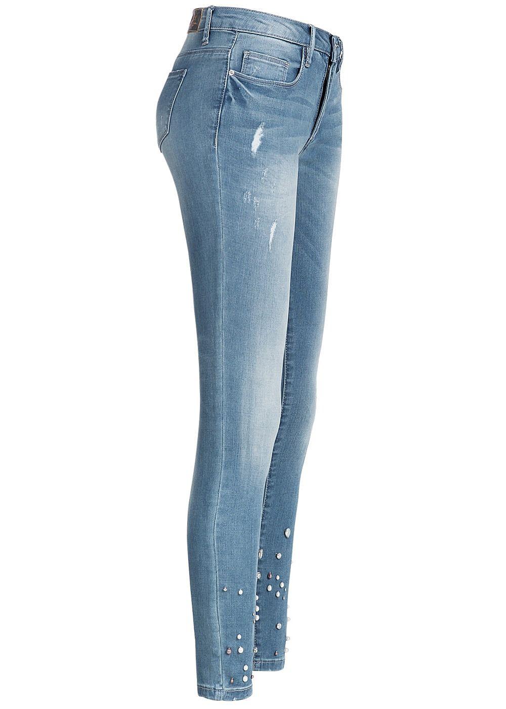 only damen jeans hose deko perlen unten 5 pockets crash. Black Bedroom Furniture Sets. Home Design Ideas