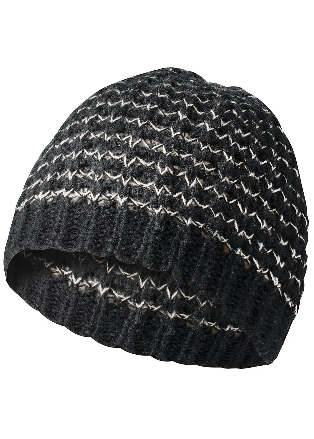 only damen winter strickm tze zickzack muster schwarz weiss 77onlineshop. Black Bedroom Furniture Sets. Home Design Ideas
