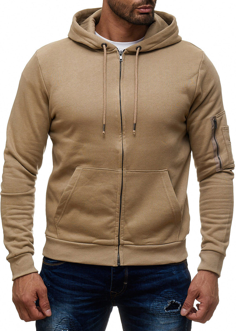 seventyseven lifestyle herren zip hoodie kapuze 2 taschen kordelzug mushroom beige 77onlineshop. Black Bedroom Furniture Sets. Home Design Ideas