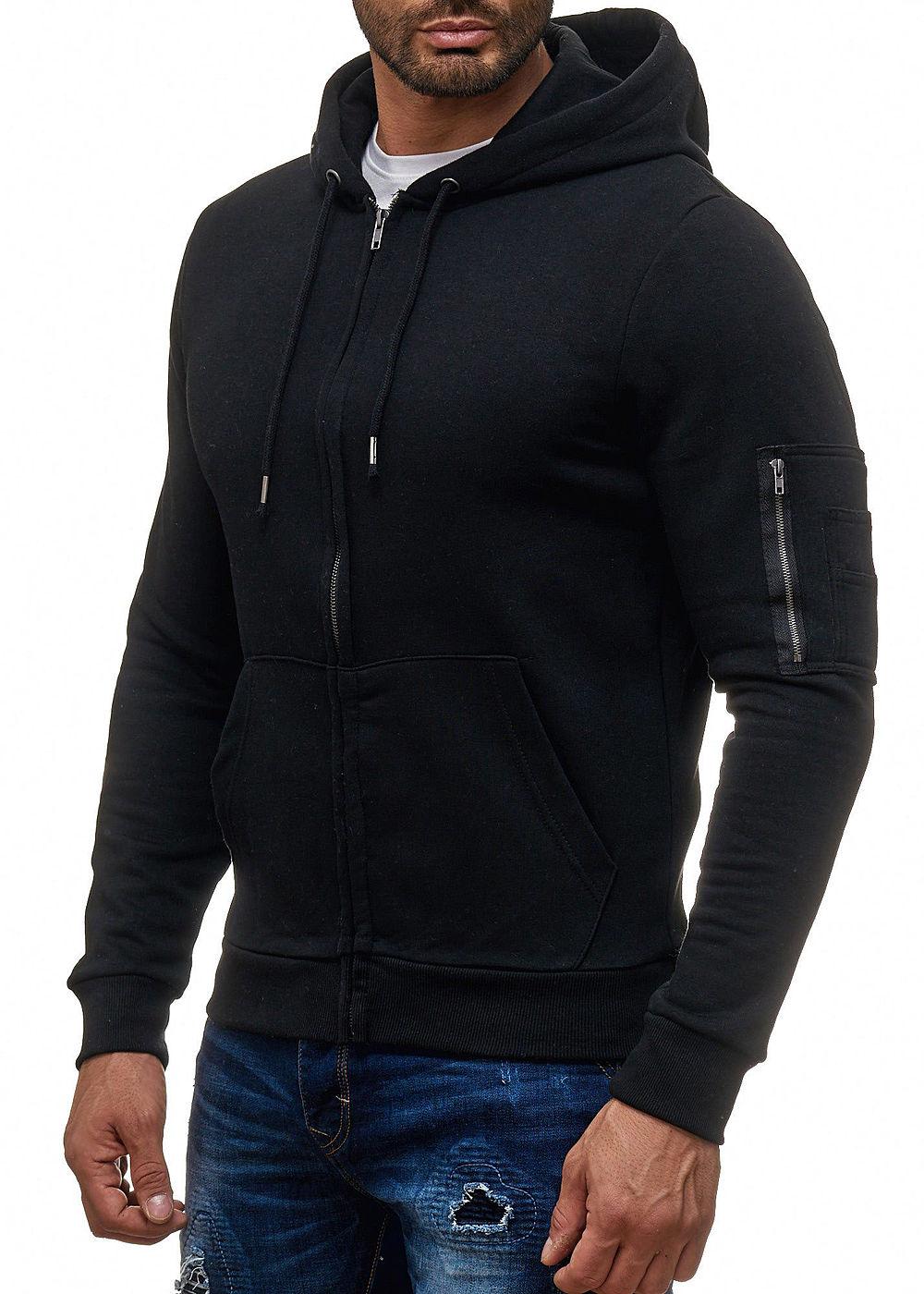 seventyseven lifestyle herren zip hoodie kapuze 2 taschen kordelzug schwarz 77onlineshop. Black Bedroom Furniture Sets. Home Design Ideas