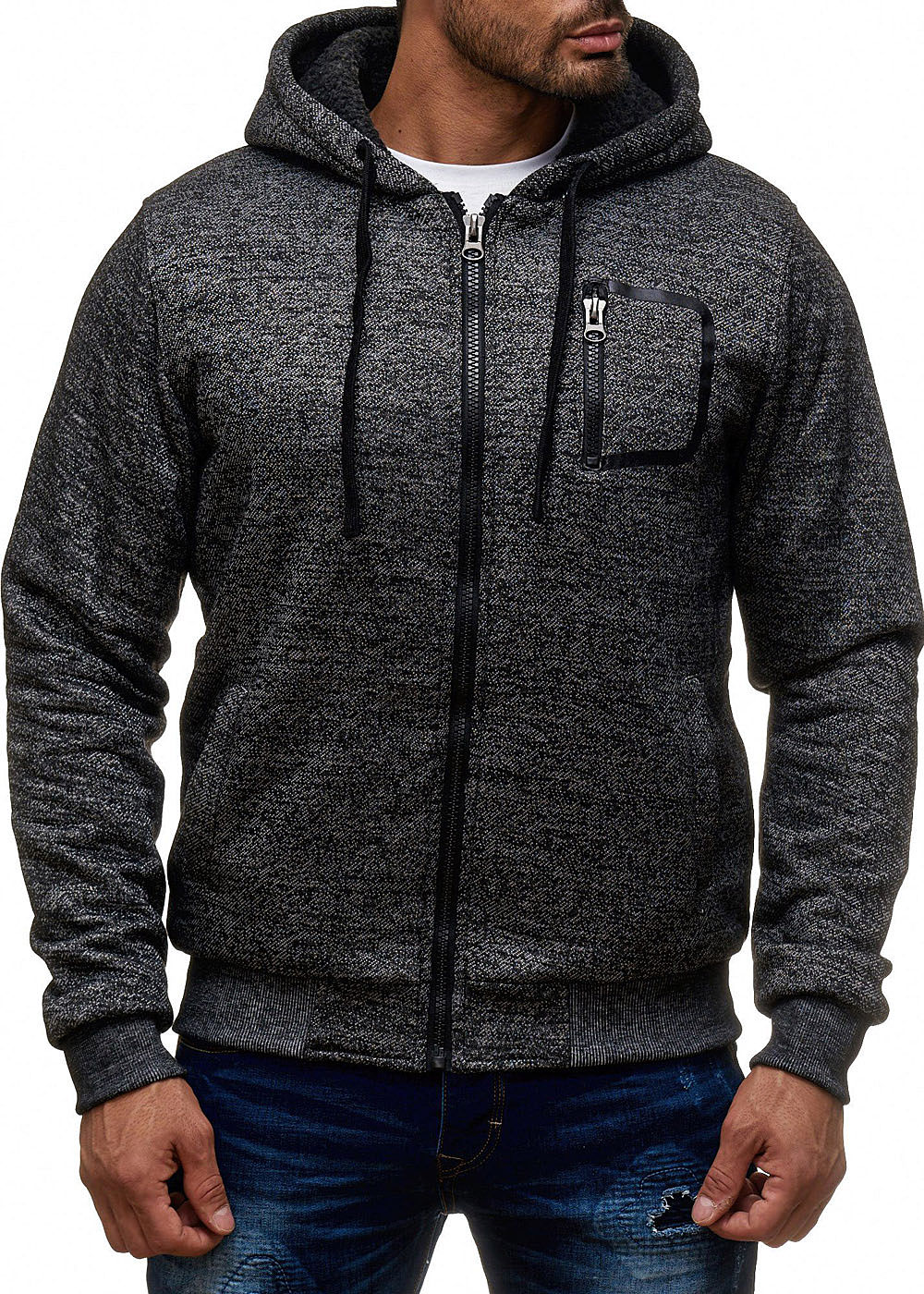 seventyseven lifestyle herren zip hoodie kapuze 1zip tasche teddyfutter charcoal grau 77onlineshop. Black Bedroom Furniture Sets. Home Design Ideas