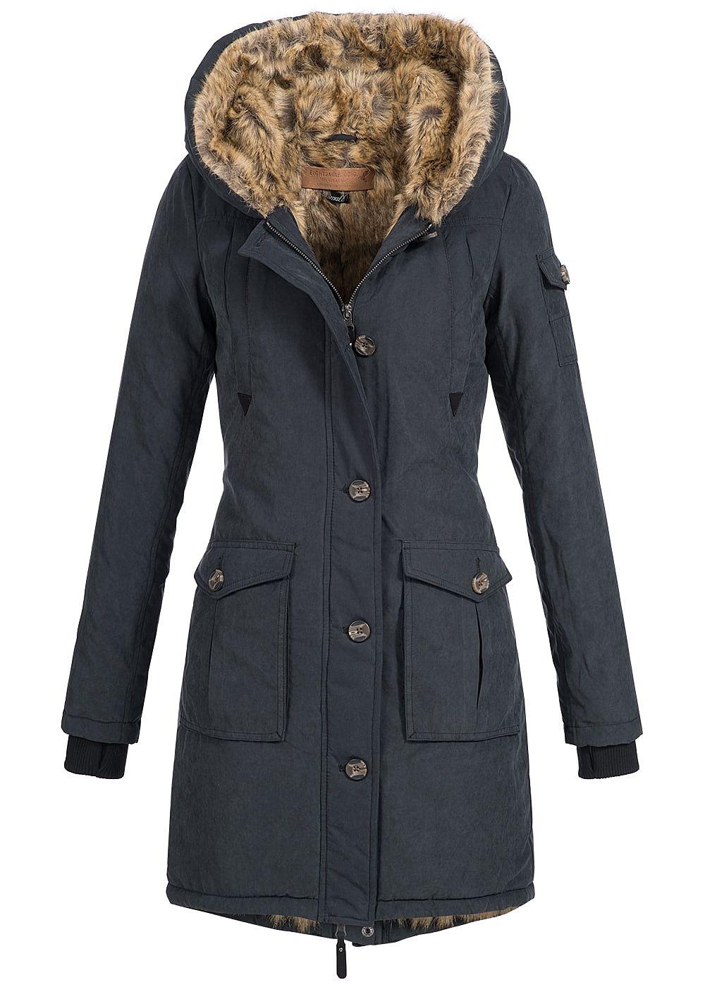 Eight2Nine Damen Winter Mantel Kunstfell Kapuze gefüttert 4