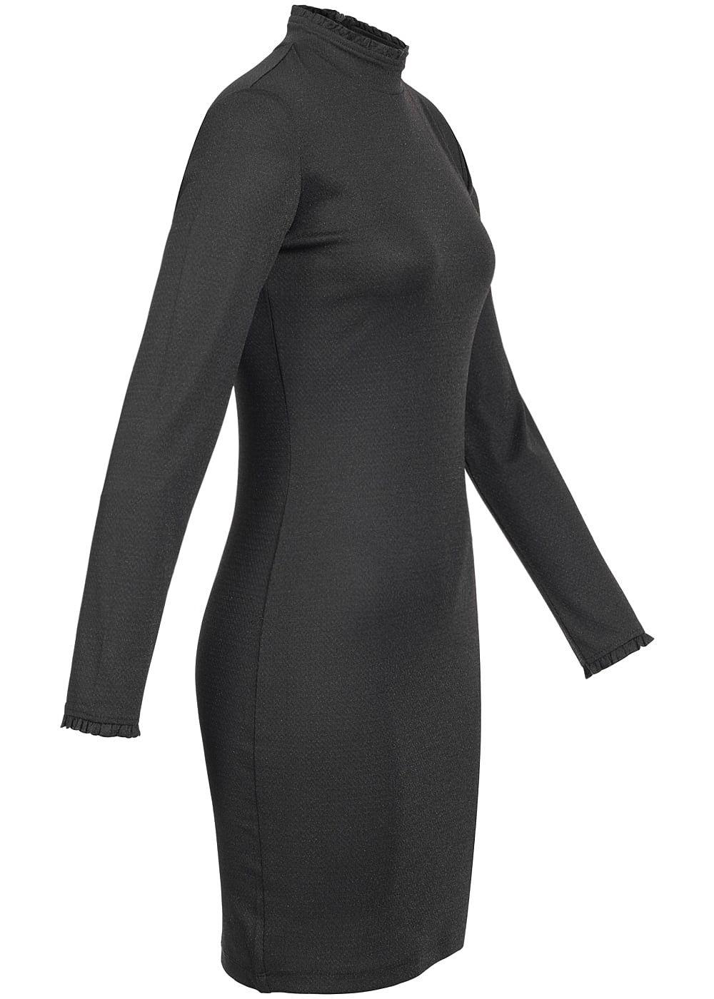 JDY by ONLY Damen Mini Kleid Langarm Zipper hinten Kragen ...