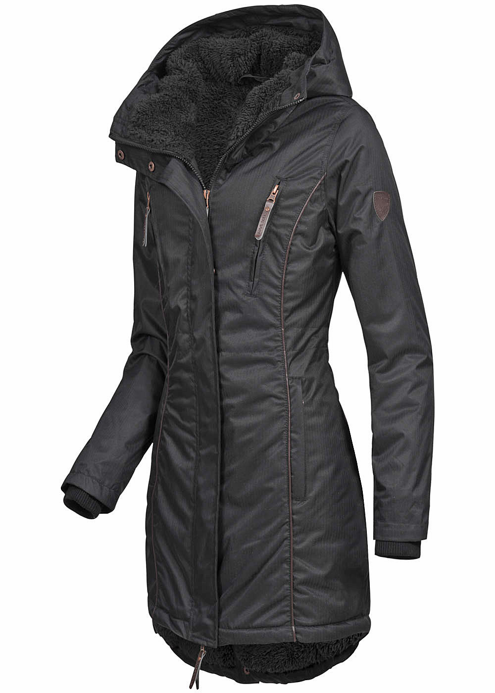 seventyseven lifestyle damen winter parka kapuze teddyfell innen 4 taschen schwarz 77onlineshop. Black Bedroom Furniture Sets. Home Design Ideas