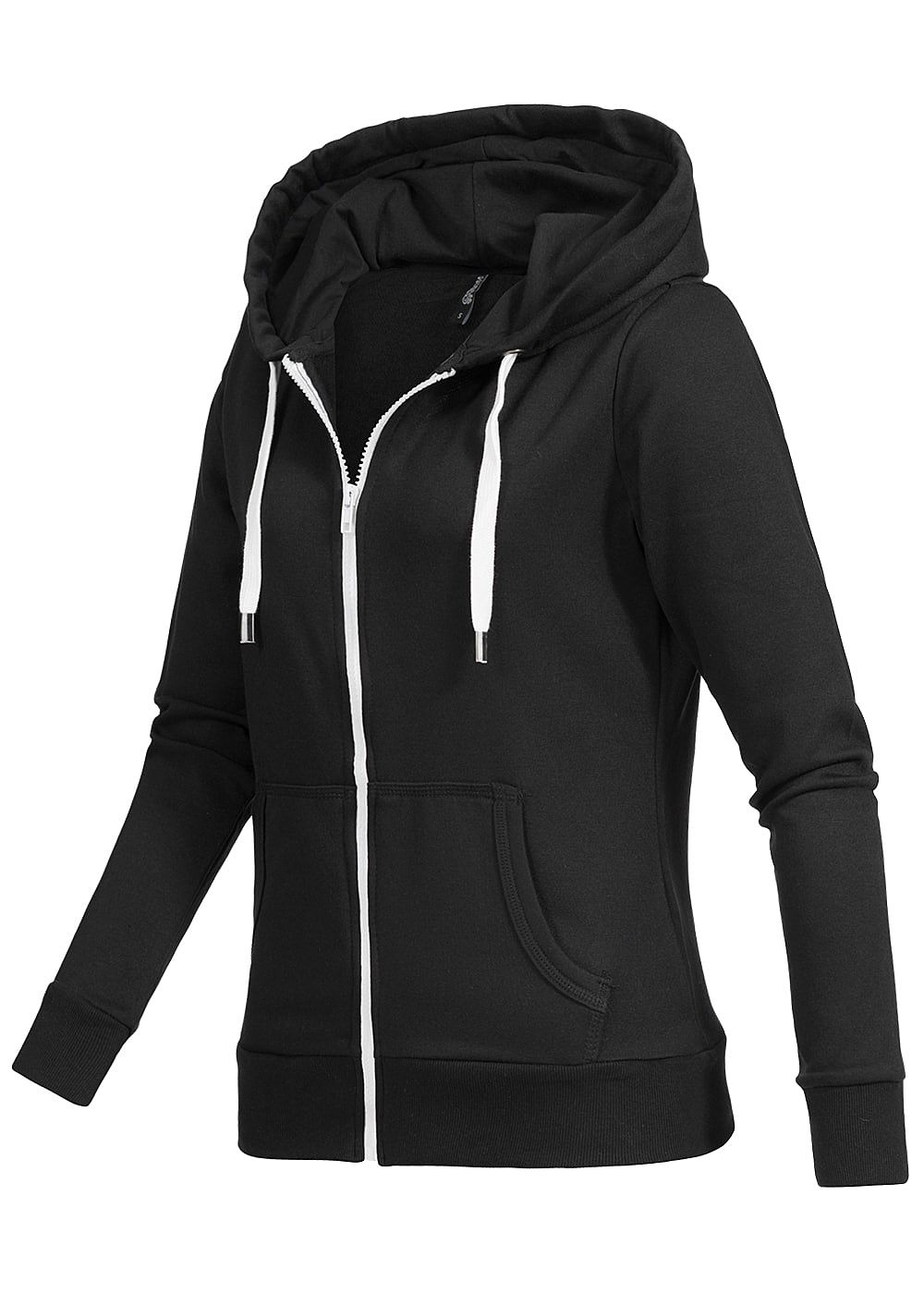 seventyseven lifestyle damen zip hoodie kapuze 2 taschen kordelzug schwarz weiss 77onlineshop. Black Bedroom Furniture Sets. Home Design Ideas