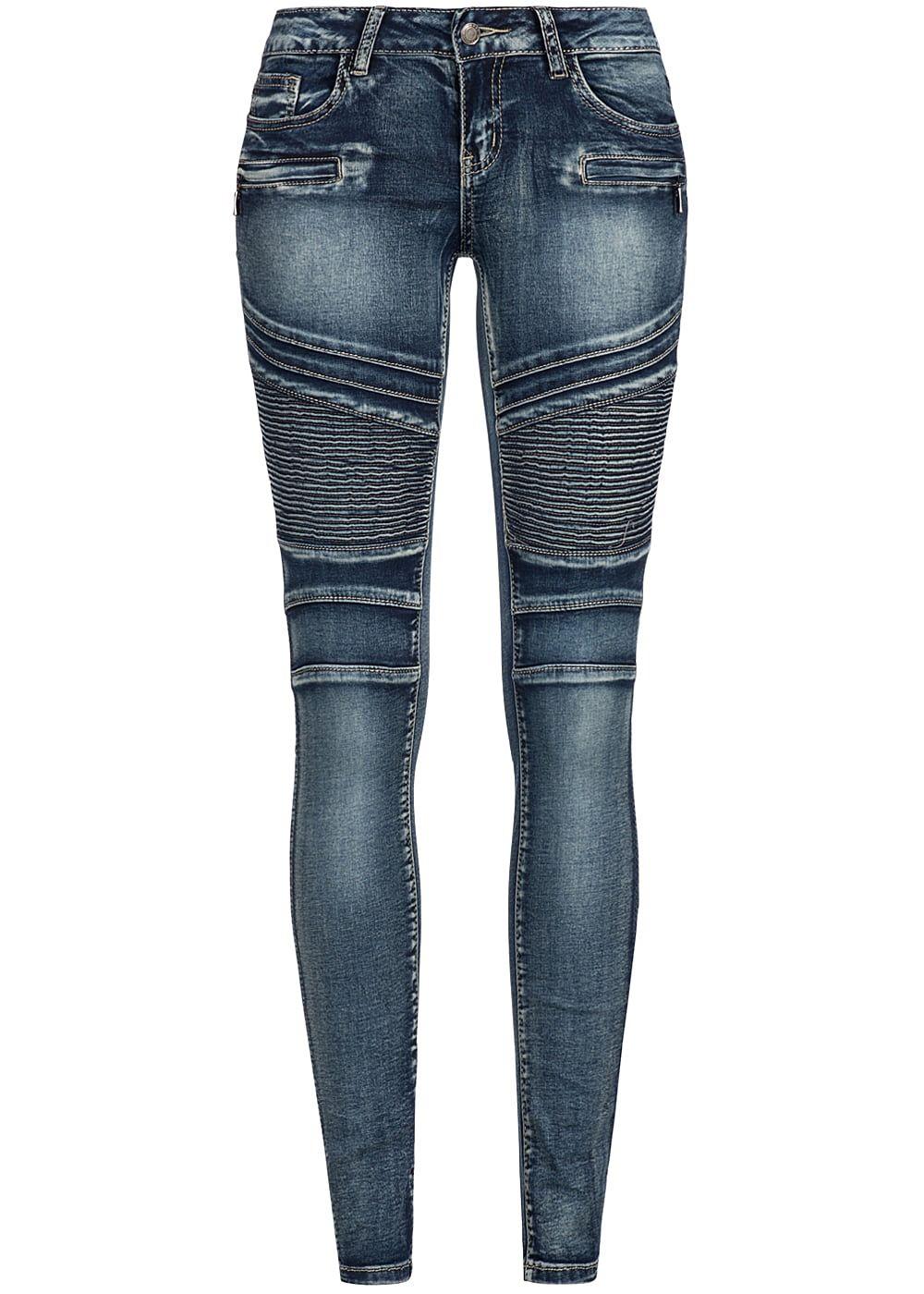 seventyseven lifestyle damen biker jeans hose 5 pockets 2 deko zipper dunkel blau den 77onlineshop. Black Bedroom Furniture Sets. Home Design Ideas