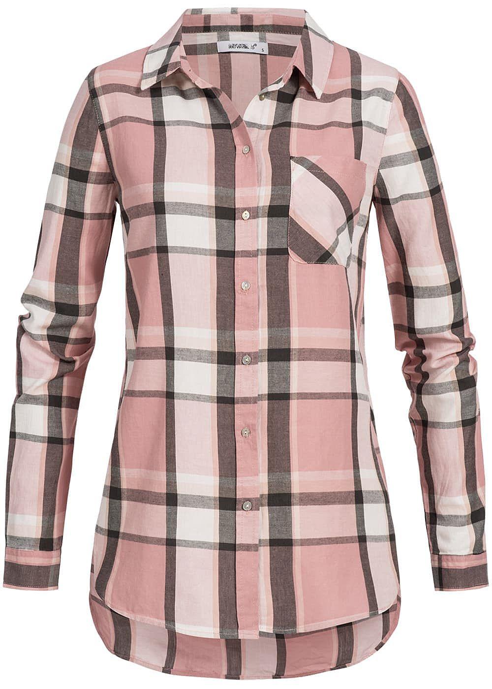 seventyseven lifestyle damen bluse brusttasche knopfleiste kariert rosa weiss grau 77onlineshop. Black Bedroom Furniture Sets. Home Design Ideas