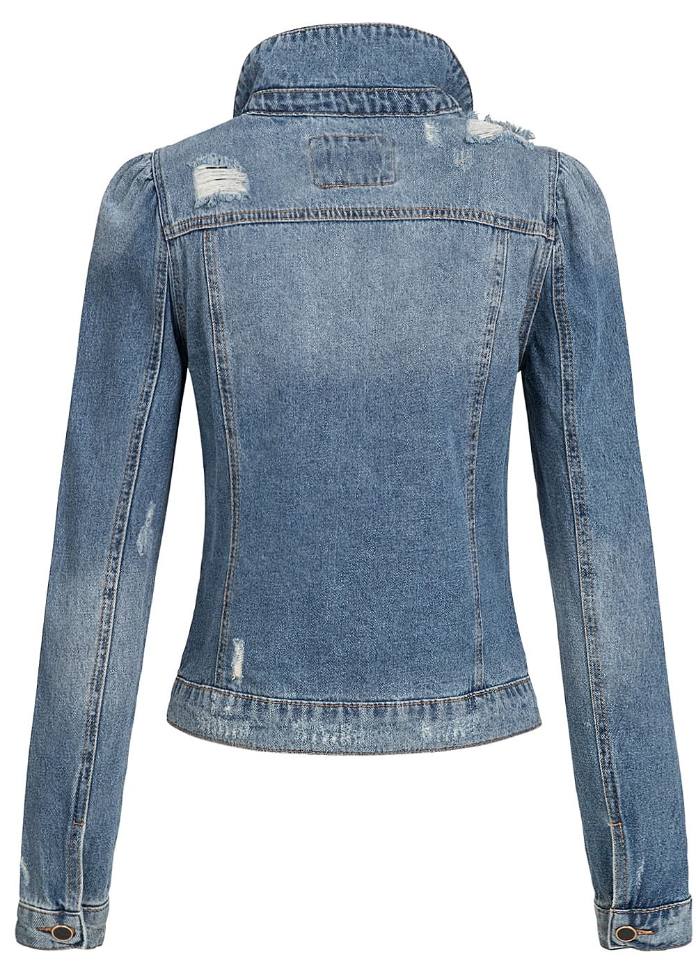 only damen jeans jacke destroy look 2 brusttaschen medium blau denim 77onlineshop. Black Bedroom Furniture Sets. Home Design Ideas