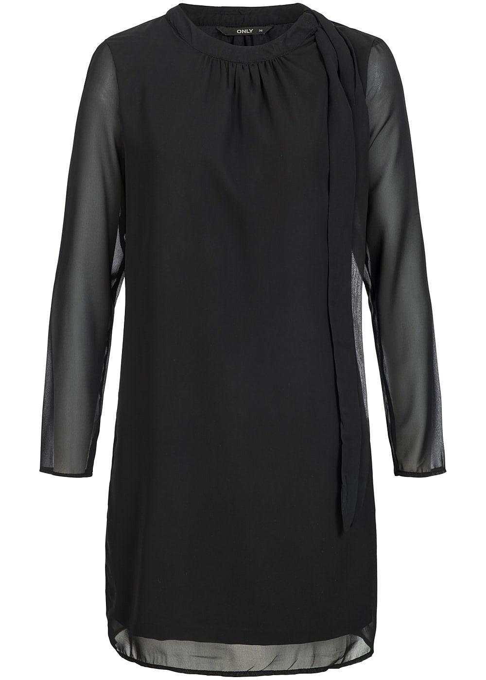 ONLY Damen Midi Kleid Langarm Passe seitlich zum Binden ...