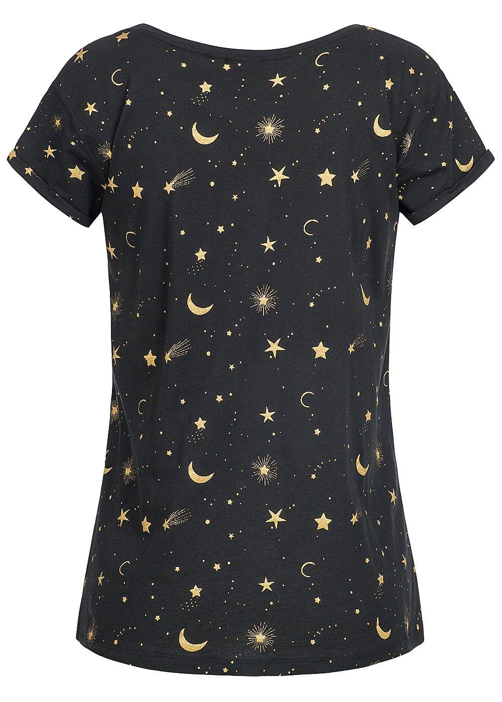 eight2nine damen t shirt sonne sterne mond muster schwarz gold 77onlineshop. Black Bedroom Furniture Sets. Home Design Ideas