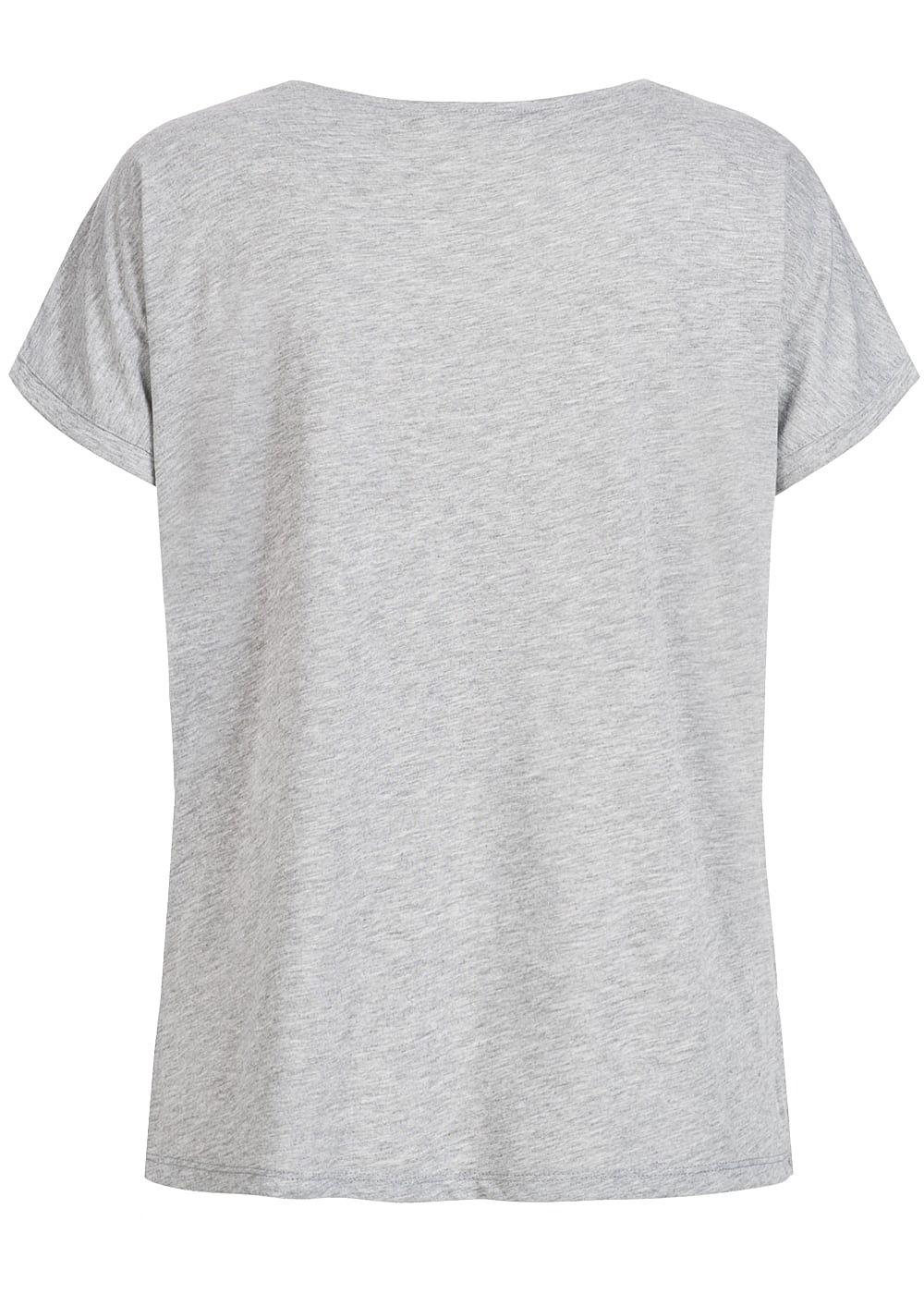 e501dca5899ac7 Hailys Damen T-Shirt Bienen Patch Deko Perlen V-Ausschnitt grau ...