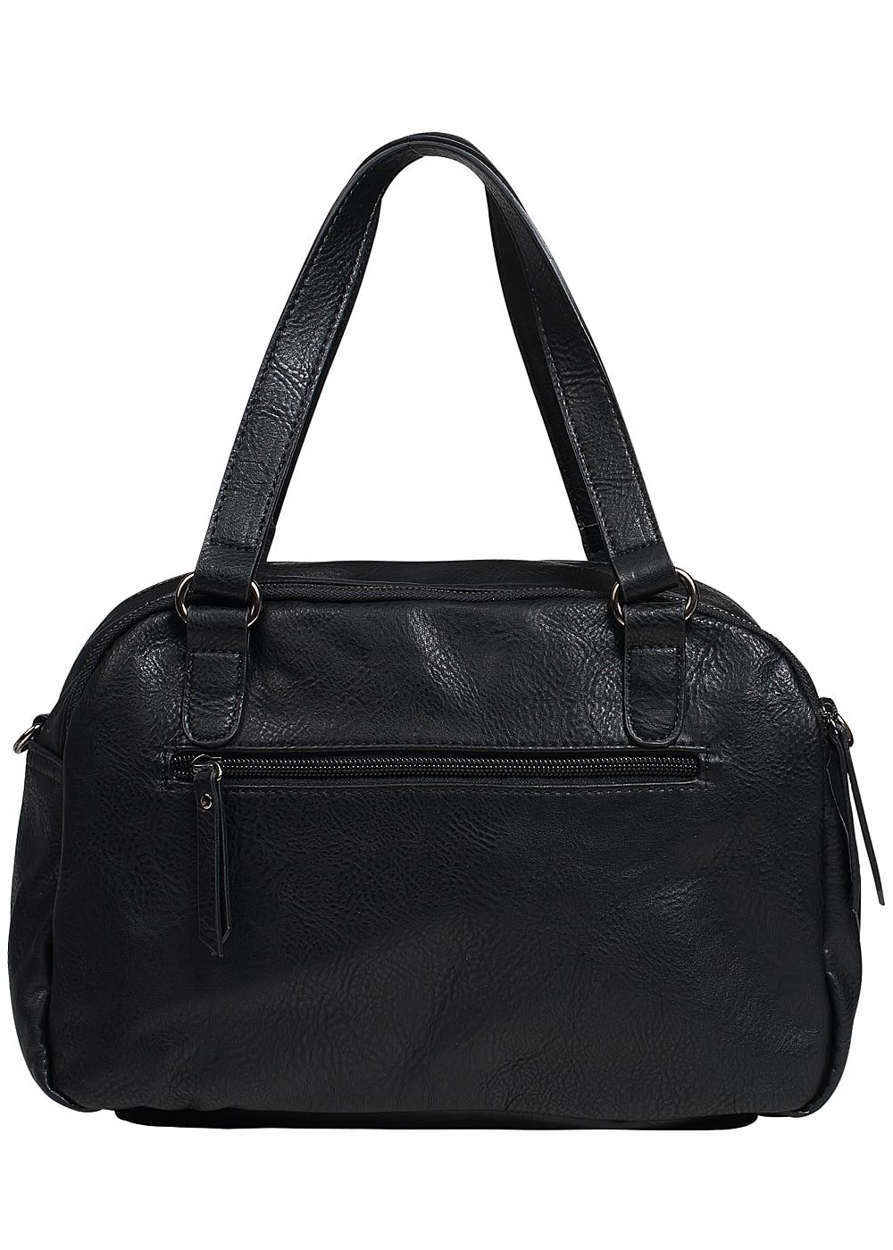 zabaione damen kunstleder handtasche 2 zip taschen schwarz. Black Bedroom Furniture Sets. Home Design Ideas