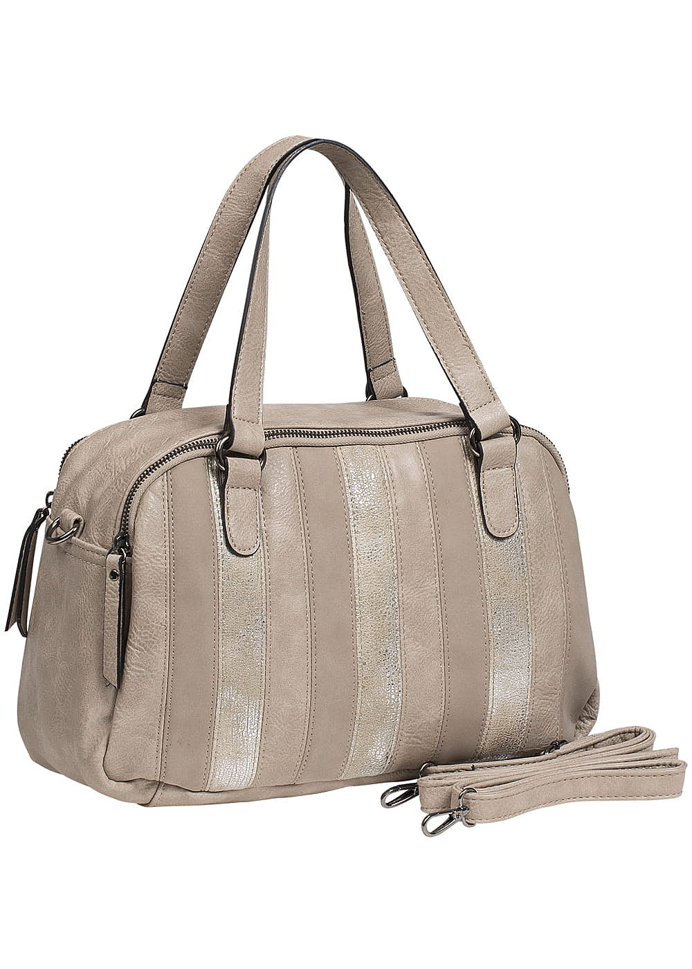 zabaione damen kunstleder handtasche 2 zip taschen beige hell gold 77onlineshop. Black Bedroom Furniture Sets. Home Design Ideas