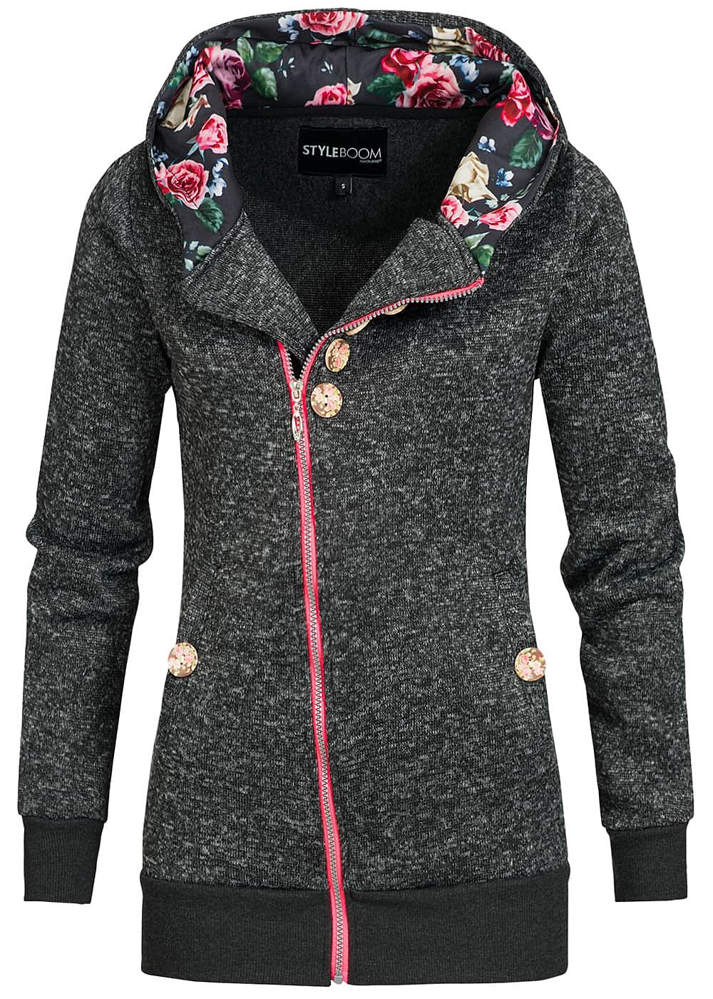 styleboom fashion damen zip hoodie asymmetrischer zipper kapuze dunkel grau melange 77onlineshop. Black Bedroom Furniture Sets. Home Design Ideas