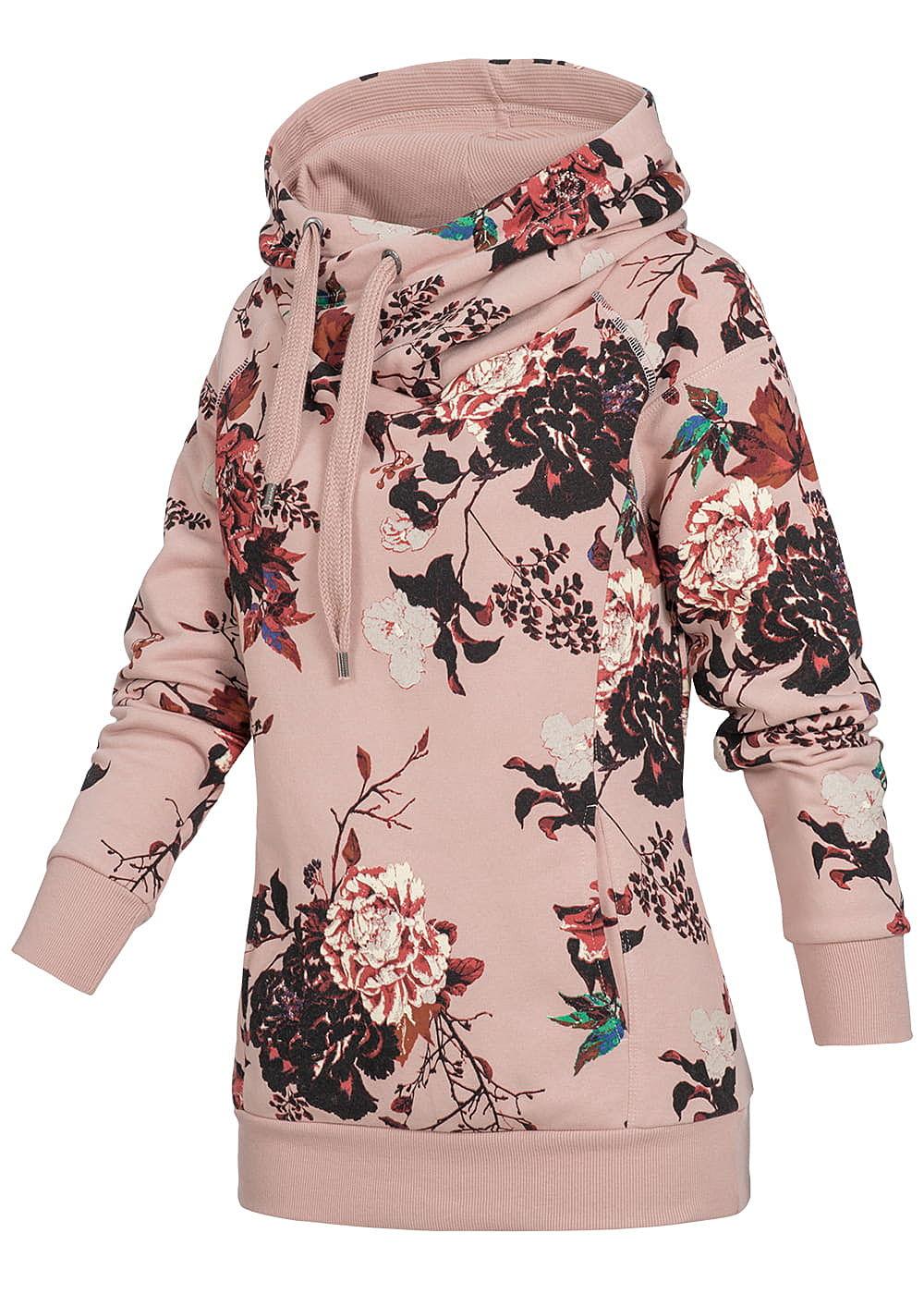 only damen hoodie berlappende kapuze k ngurutasche blumen print rosa rot schwarz 77onlineshop. Black Bedroom Furniture Sets. Home Design Ideas