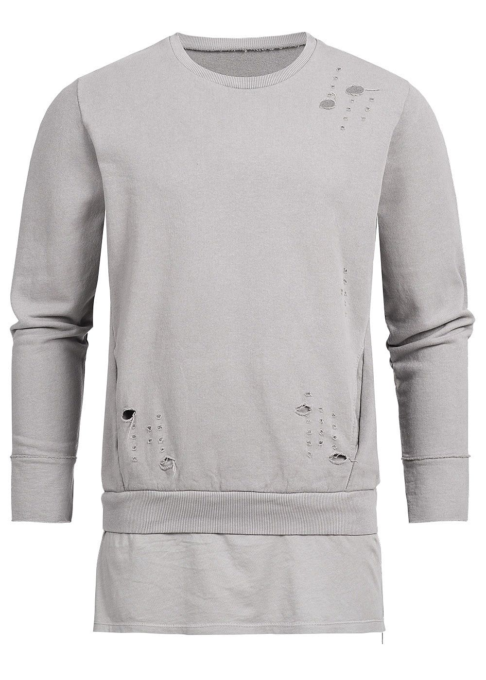 Seventyseven Lifestyle Men Open Edge Side Zip Long Crewneck Sweater beige grey - Art.-Nr.: 18020662