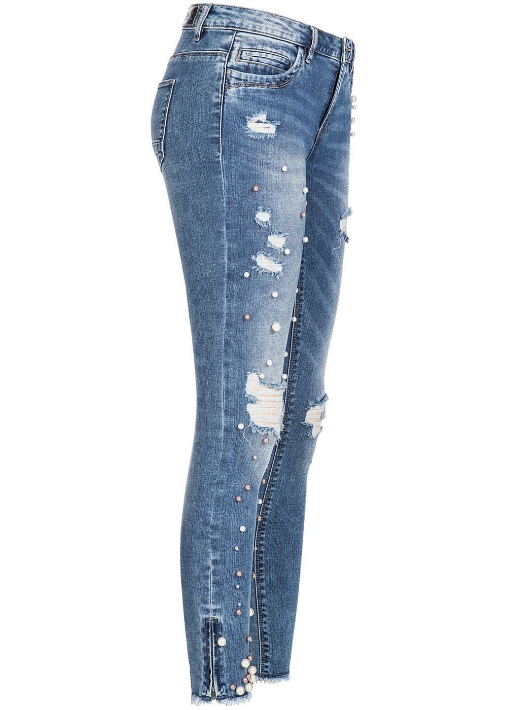 only damen skinny jeans hose deko perlen destroy look 5. Black Bedroom Furniture Sets. Home Design Ideas