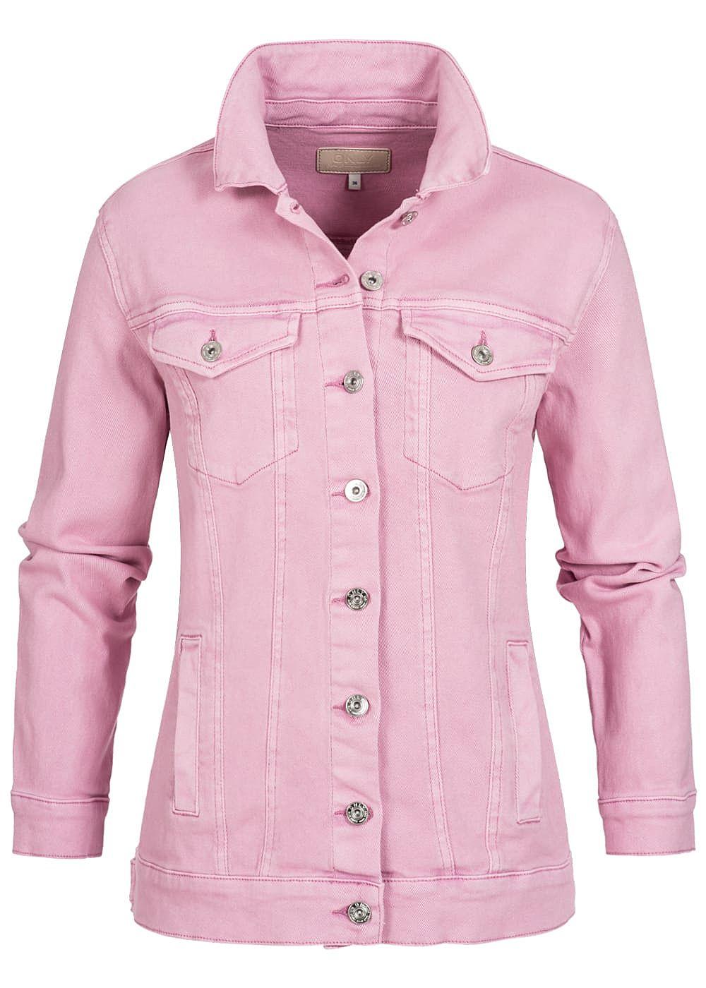 Only damen oversize jeansjacke 2 brusttaschen 2 deko taschen begonia pink 77onlineshop - Jeansjacke damen oversize ...