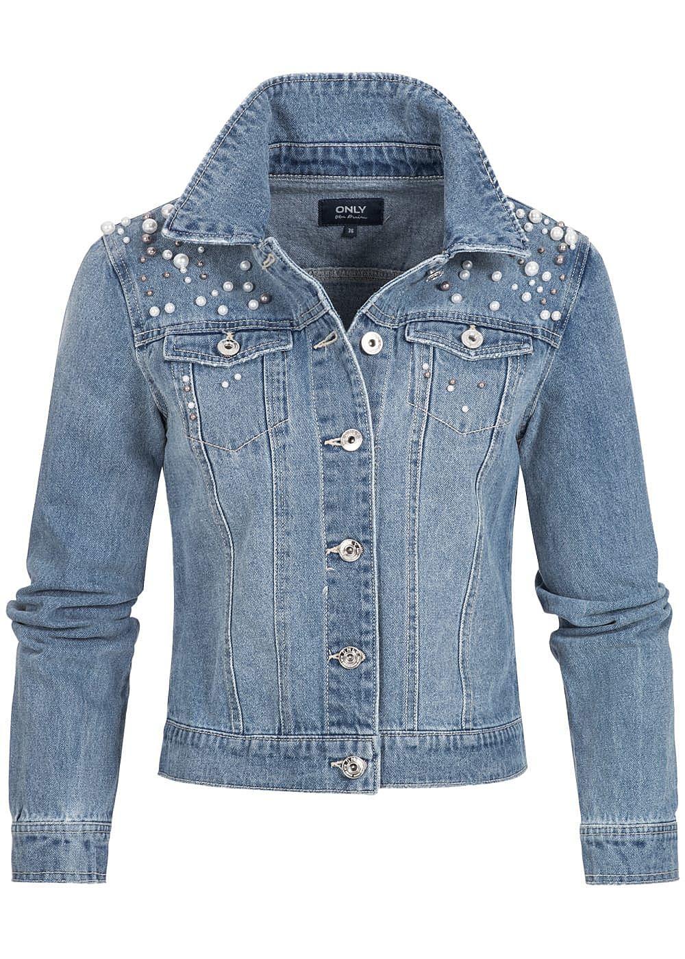 only damen jeans jacke deko perlen 2 brusttaschen medium blau denim 77onlineshop. Black Bedroom Furniture Sets. Home Design Ideas