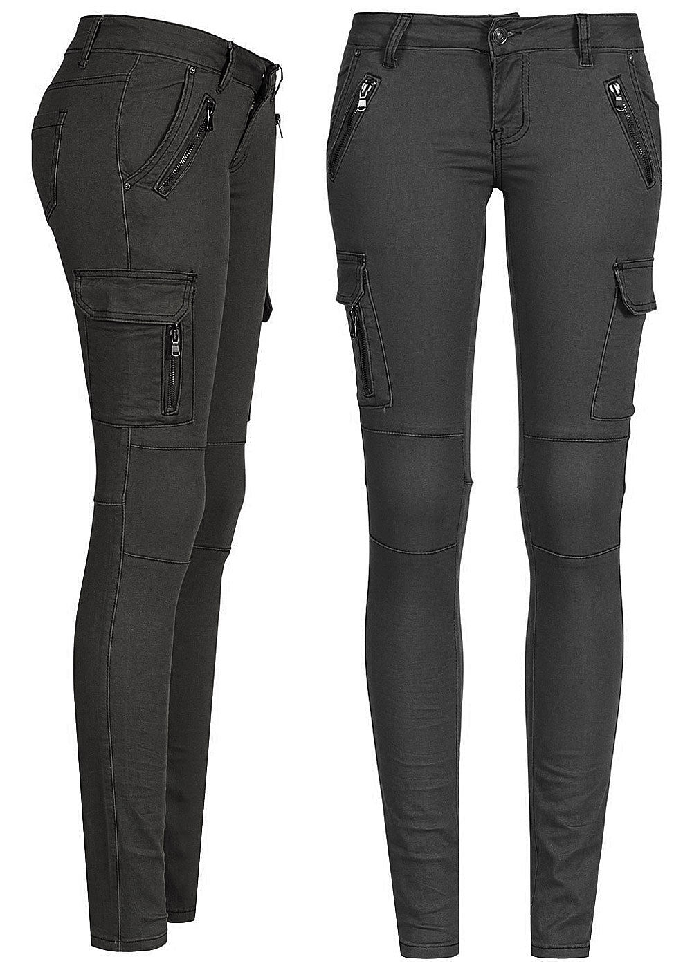 seventyseven lifestyle damen cargo jeans hose 6 pockets schwarz denim 77onlineshop. Black Bedroom Furniture Sets. Home Design Ideas