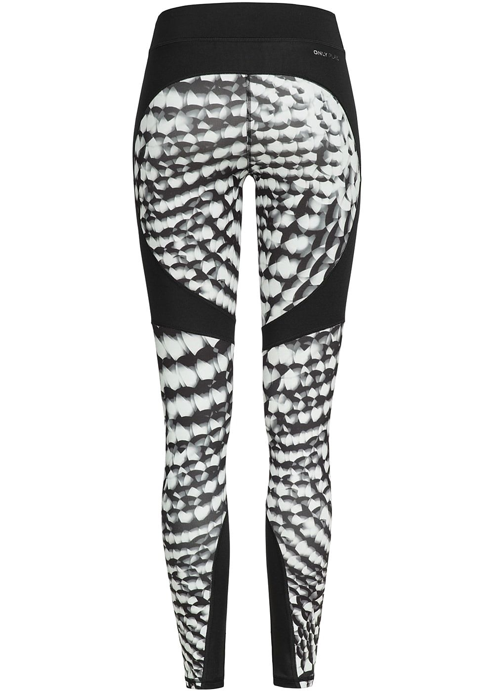 aff5190a930265 ONLY PLAY Damen Trainings Tights Leggings mit Print schwarz weiss ...