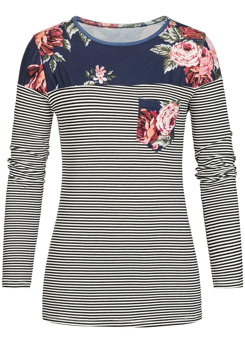 styleboom fashion damen longsleeve shirt blumen muster gestreift weiss schwarz 77onlineshop. Black Bedroom Furniture Sets. Home Design Ideas