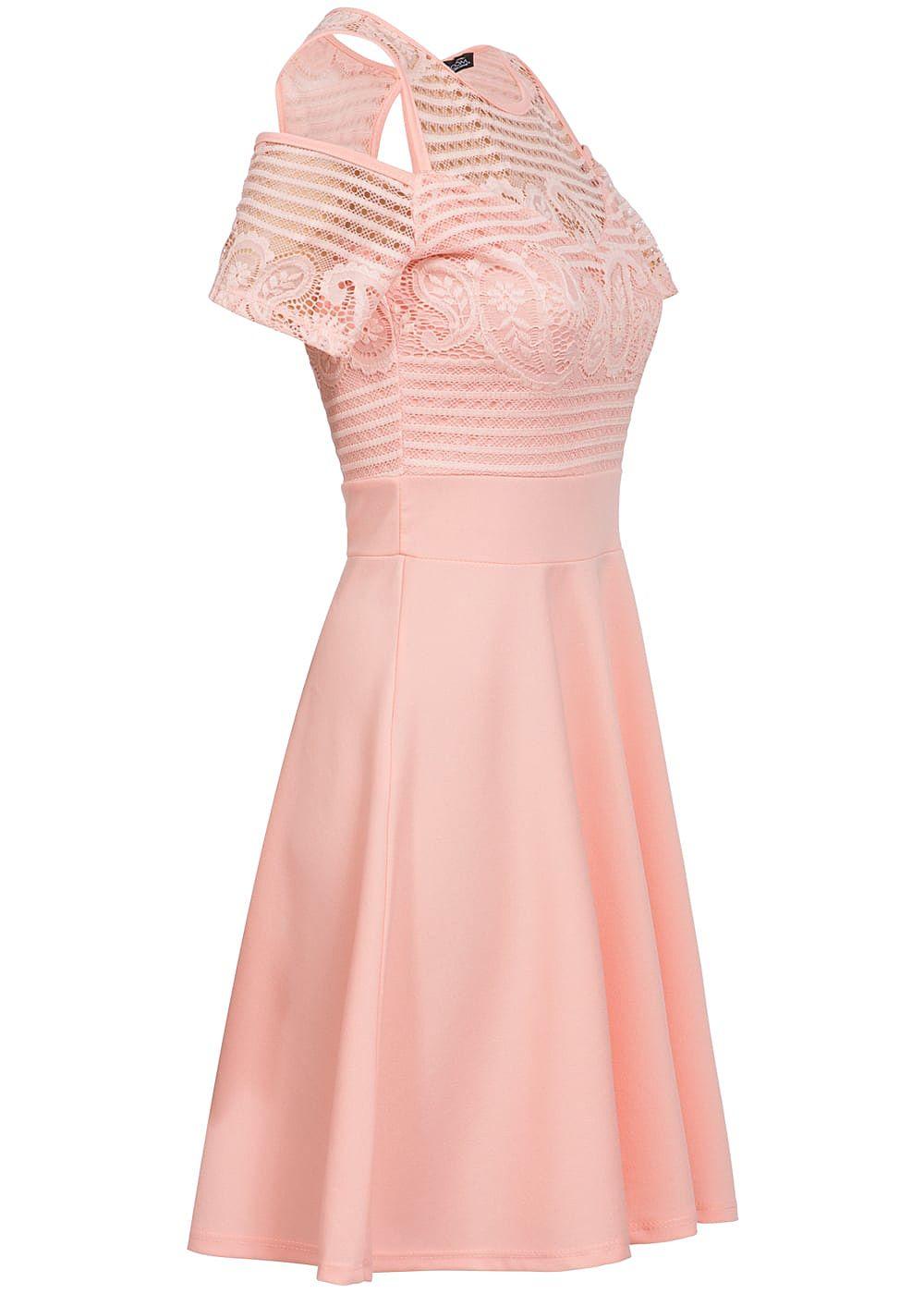 Styleboom Fashion Damen Kleid Off Shoulder Spitze oben ...