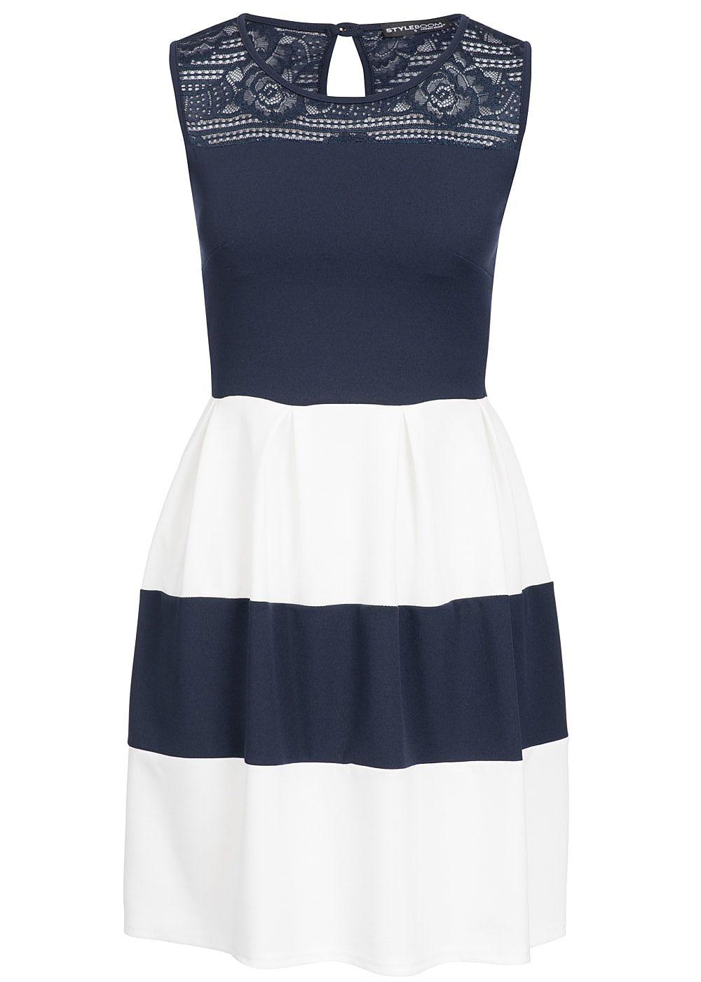 styleboom fashion damen mini kleid spitze oben brustpads gestreift navy blau weiss 77onlineshop. Black Bedroom Furniture Sets. Home Design Ideas