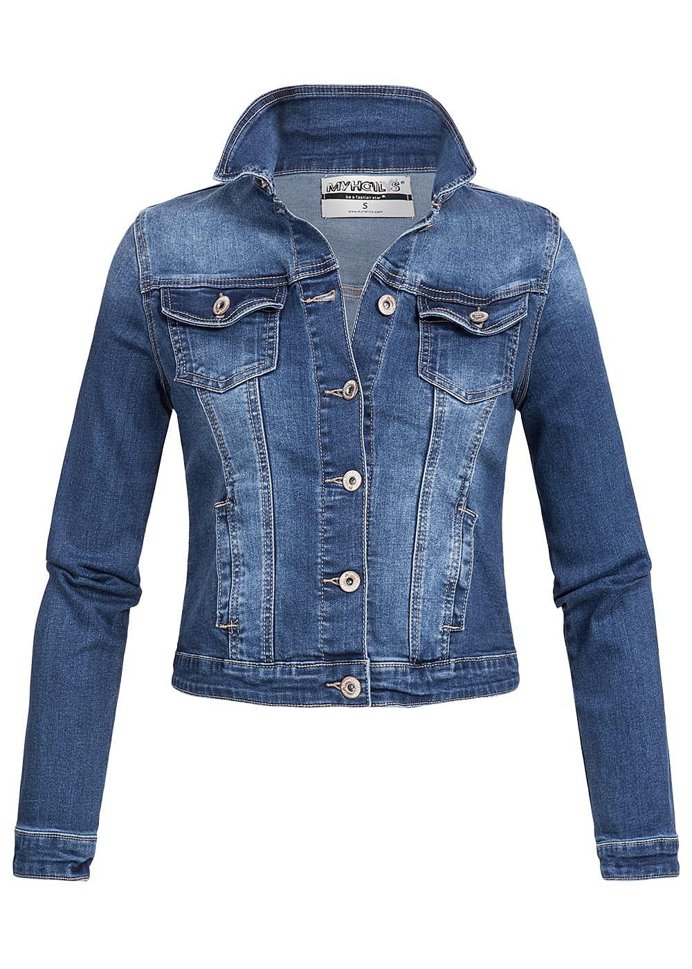 hailys damen jeans jacke 2 brusttaschen kurzer schnitt 2 taschen medium blau denim 77onlineshop. Black Bedroom Furniture Sets. Home Design Ideas