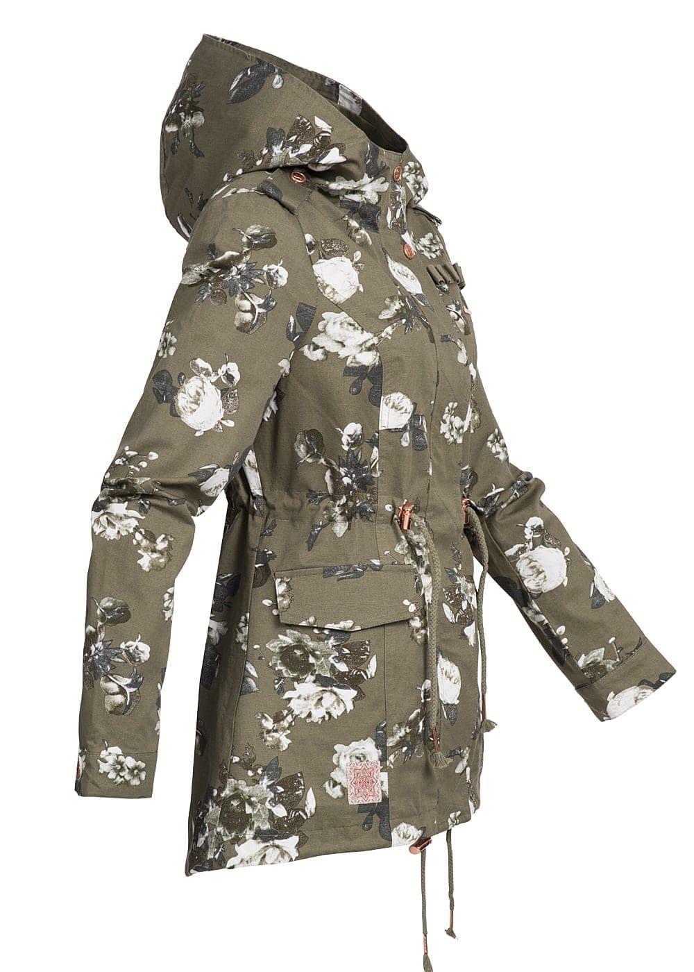 Muster Olive Übergangs Blumen Damen Parka Weiss Kapuze Aiki Taschen 2 Taillenzug Grün QdCoexBWr