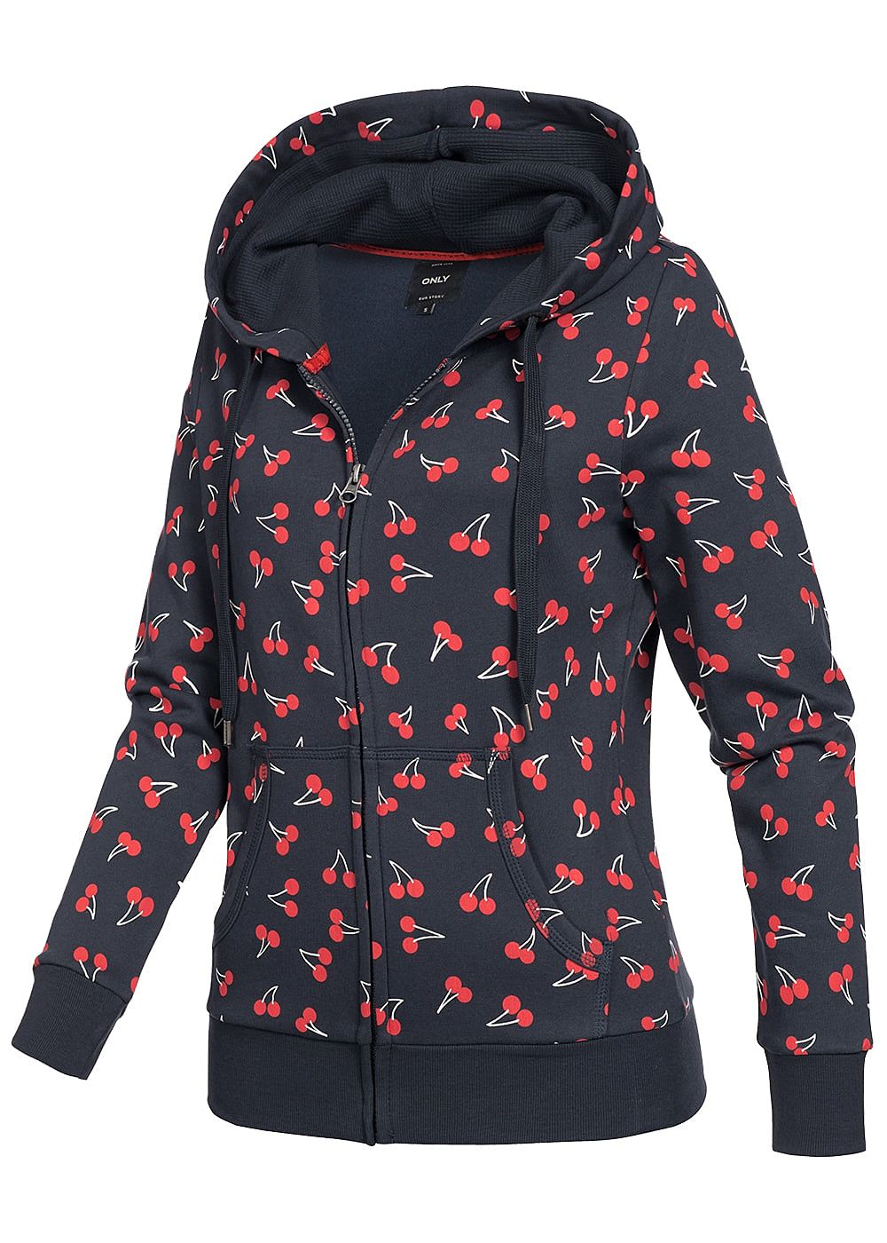 only damen zip hoodie kapuze kirsch muster 2 taschen night sky blau rot 77onlineshop. Black Bedroom Furniture Sets. Home Design Ideas