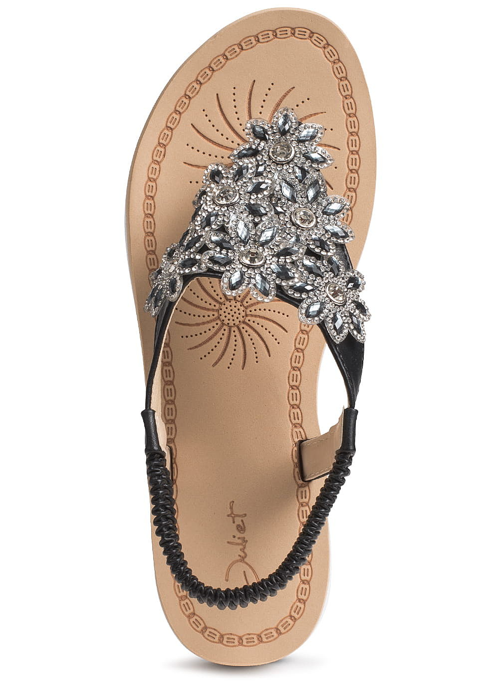 5b6d833c5008a9 Seventyseven Lifestyle Schuh Damen Sandalette deko Steine Blumen ...