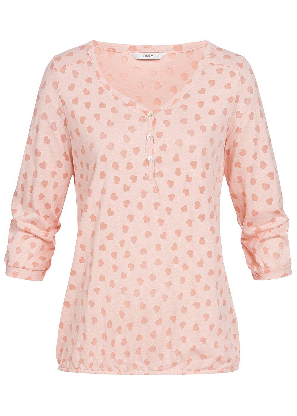 ONLY Damen 3/4 Arm Shirt Herz Muster V-Ausschnitt Gummibund smoke rosa
