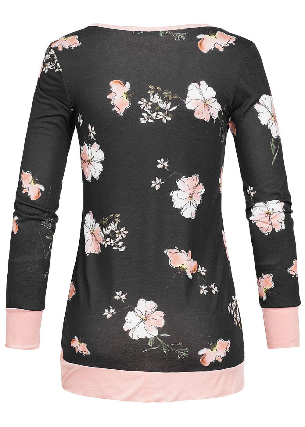 styleboom fashion damen longsleeve blumen muster schwarz pink 77onlineshop. Black Bedroom Furniture Sets. Home Design Ideas