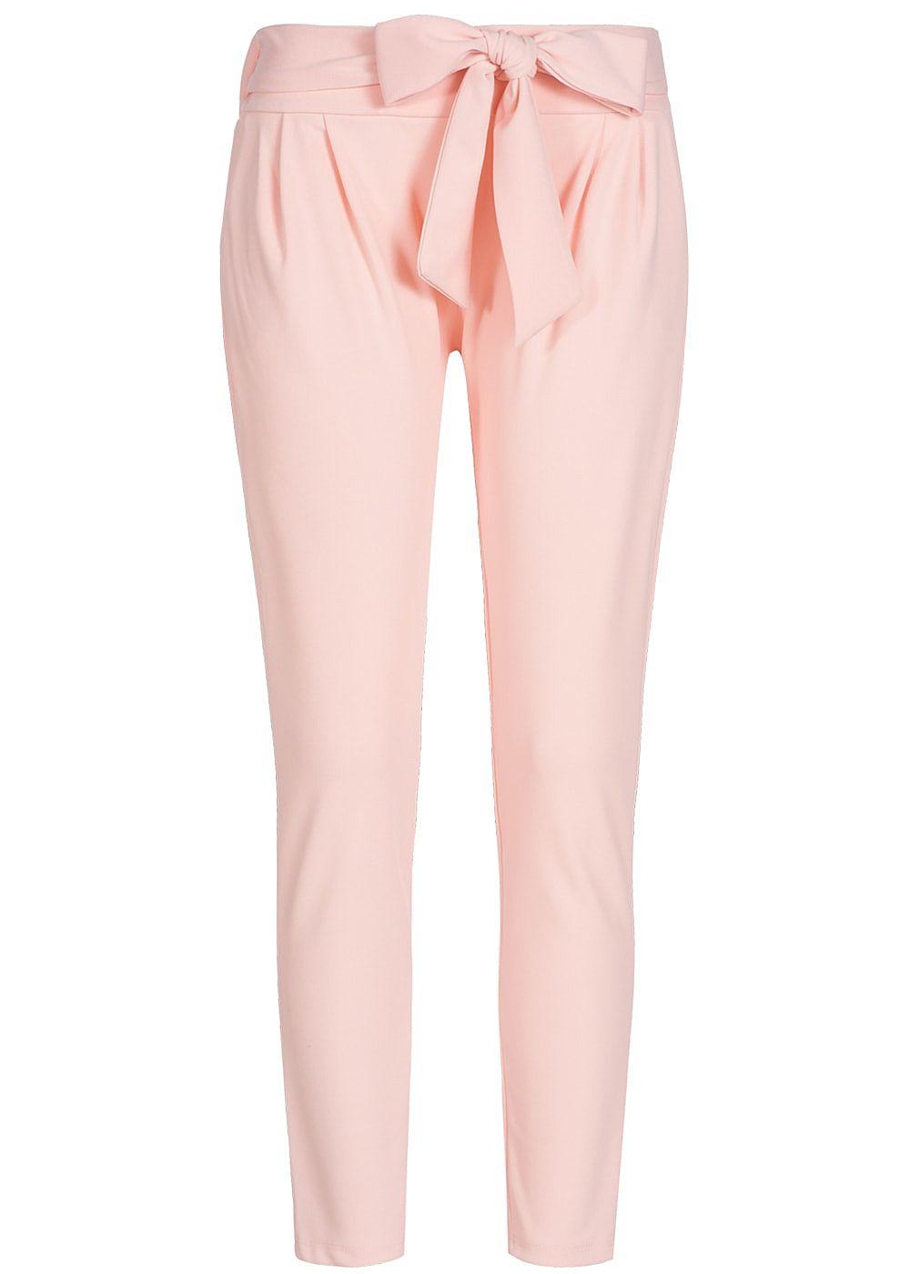 styleboom fashion damen stoff hose 2 taschen schleife zum binden rosa 77onlineshop. Black Bedroom Furniture Sets. Home Design Ideas