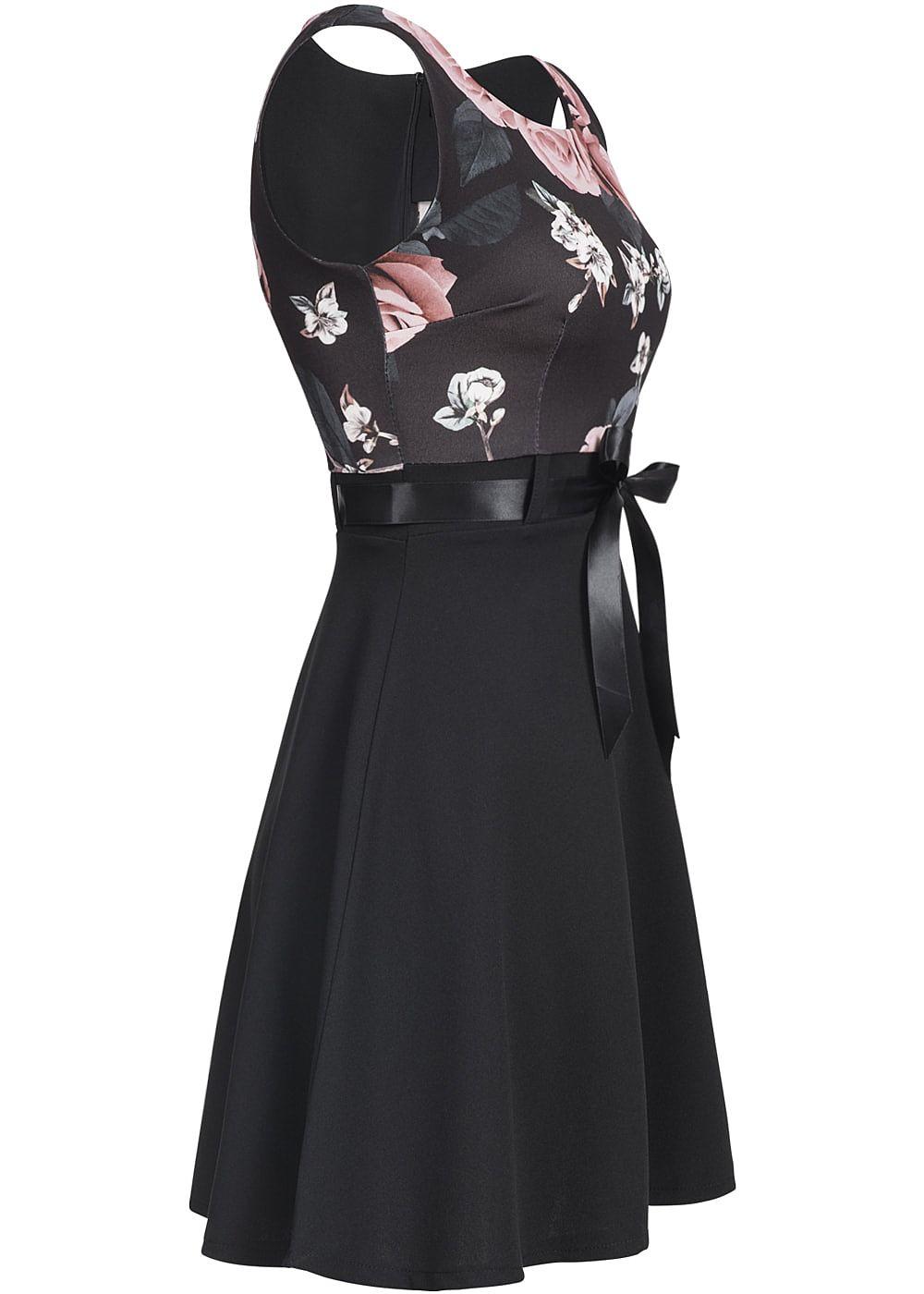 styleboom fashion damen mini kleid blumen print bindeband rundhals schwarz rosa 77onlineshop. Black Bedroom Furniture Sets. Home Design Ideas