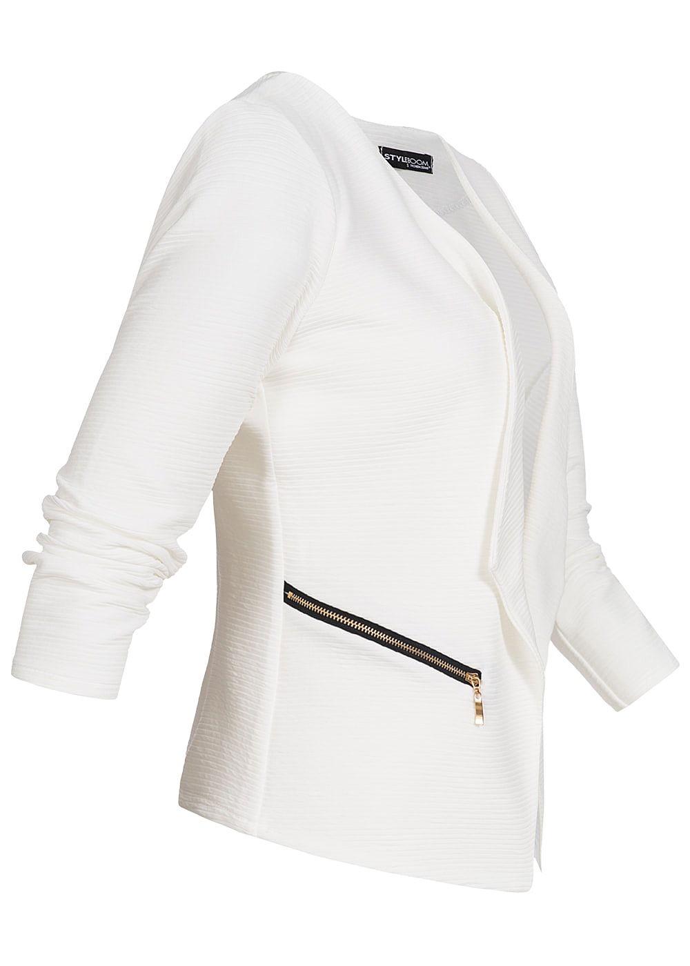 styleboom fashion damen blazer 2 zipper eingriffstaschen. Black Bedroom Furniture Sets. Home Design Ideas