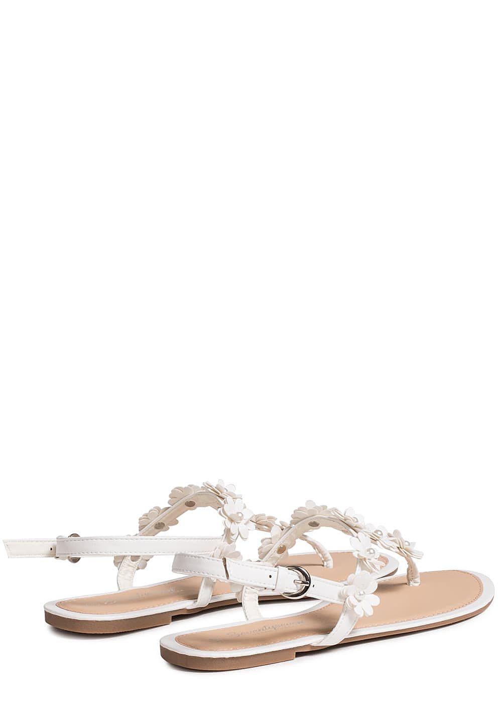 seventyseven lifestyle schuh damen sandalette zehensteg bl mchen weiss 77onlineshop. Black Bedroom Furniture Sets. Home Design Ideas