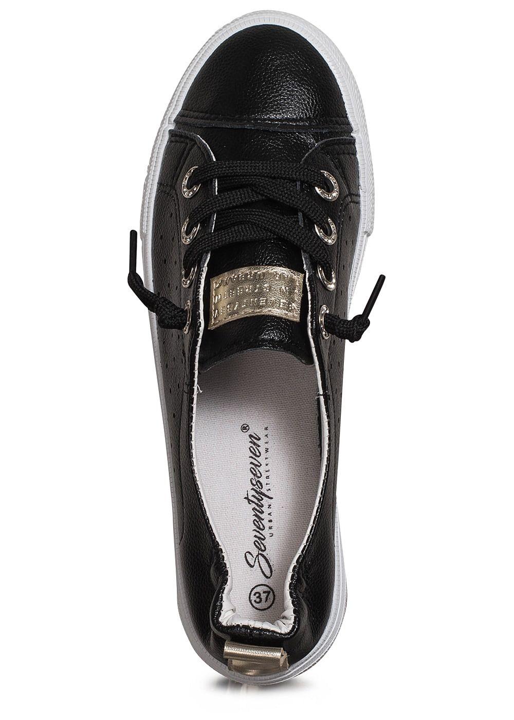 seventyseven lifestyle schuh damen sneaker zum schn ren lochmuster schwarz 77onlineshop. Black Bedroom Furniture Sets. Home Design Ideas