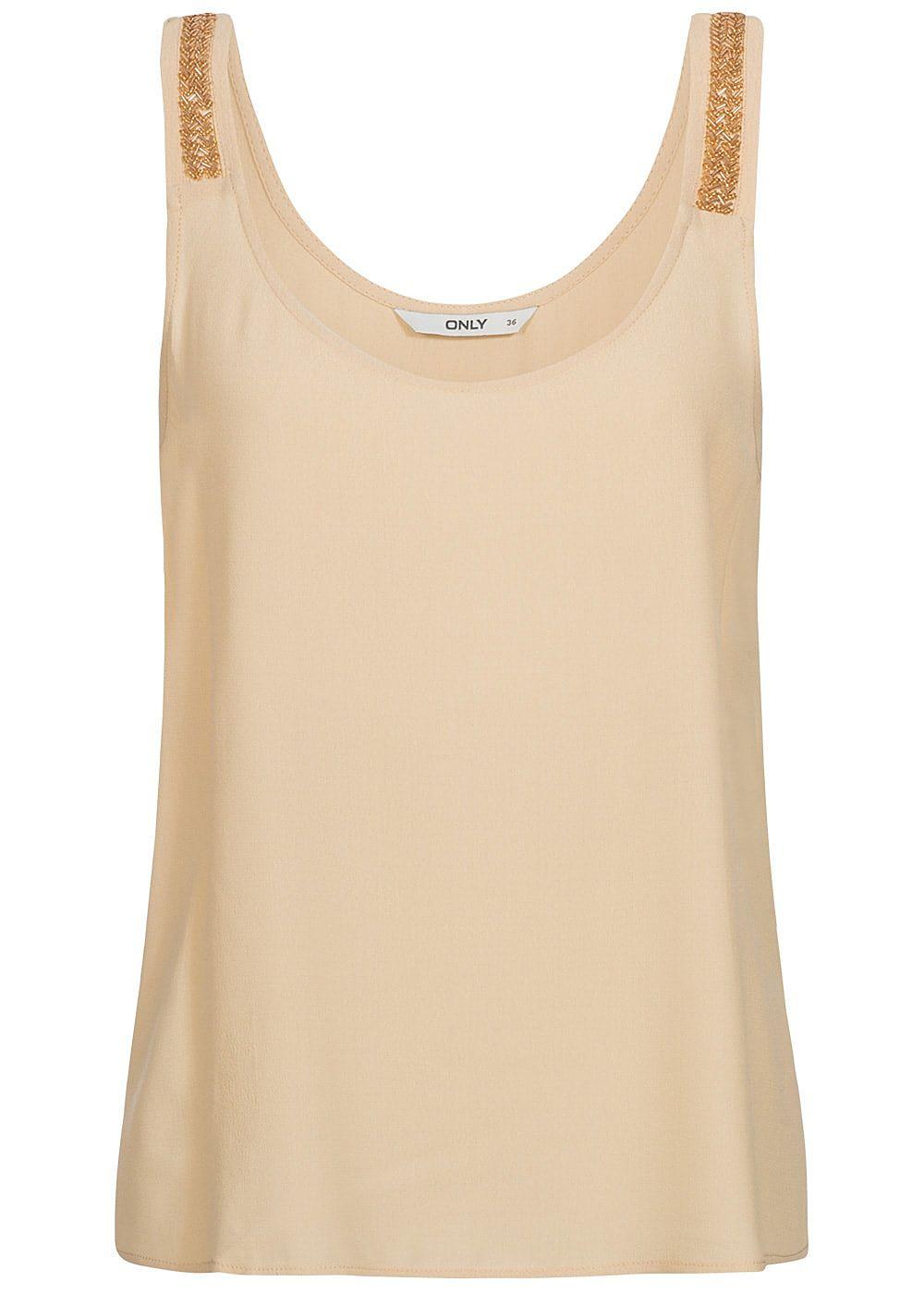 Only damen top deko perlen brazzilian sand beige for Top deko shop