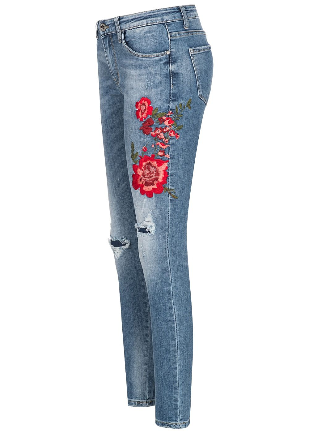 91bb22ee4bb515 Hailys Damen Jeans Hose Blumen Patch Destroy Look 5-Pockets medium ...